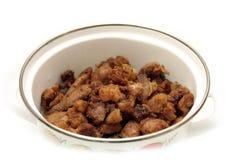 Vlees in een pan Stock Afbeelding