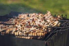 Vlees in een rooster op steenkolen wordt gebraden die, in openlucht voorbereidingen te treffen royalty-vrije stock foto