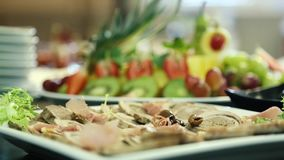 Vlees en fruit stock video