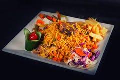 Vlees en gele rijst en aardappel Stock Afbeeldingen