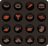 Vlees en geplaatst eiwitpictogrammen stock illustratie