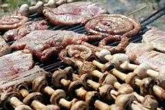 Vlees en paddestoelen op de barbecue Stock Afbeelding