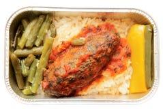 Vlees en rijst - luchtvaartlijnmaaltijd Royalty-vrije Stock Foto's