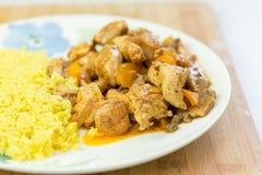 vlees en rijst met groenten op schotel Royalty-vrije Stock Fotografie