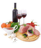 Vlees en rode wijn Royalty-vrije Stock Foto's
