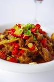 Vlees en Spaanse peper stock foto's