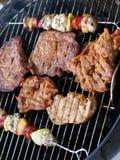Vlees en vleespennen op de grill royalty-vrije stock afbeeldingen
