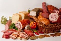 Vlees en worsten Stock Afbeelding