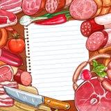 Vlees en worsten met recept of menu leeg document vector illustratie