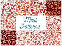 Vlees en worsten naadloze patronen stock illustratie