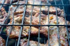 Vlees het koken bij de grill Stock Afbeelding