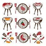vlees, hotdog en hamburger royalty-vrije illustratie