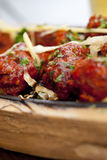 Vlees kebab met het versieren Stock Foto
