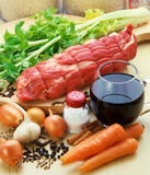 Vlees met groenten. Stock Foto