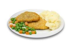 Vlees met ineenstortingspotatos en groenten Royalty-vrije Stock Afbeeldingen