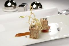 Vlees met kruiden op witte plaat Gastronomisch voedsel royalty-vrije stock fotografie