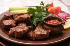Vlees met verse groenten Stock Afbeelding