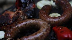 Vlees op de barbecue stock footage