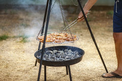 Vlees op de grill Stock Afbeeldingen