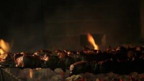 Vlees op de grill stock footage