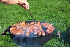 Vlees op een barbecue Stock Afbeelding