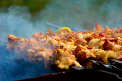 Vlees op een houtskoolgrill stock foto