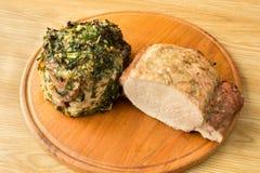 Vlees op een ronde board3 wordt gebakken die Royalty-vrije Stock Foto