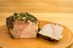 Vlees op een ronde board5 wordt gebakken die Royalty-vrije Stock Fotografie