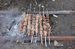Vlees op vleespennen die over houtskool worden geroosterd Stock Afbeelding