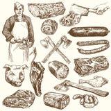 Vlees, slager Reeks van hand getrokken illusration vector illustratie