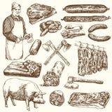 Vlees, slager Reeks van hand getrokken illusration royalty-vrije illustratie