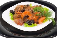 Vlees van het konijn op zwart-witte platen Royalty-vrije Stock Afbeeldingen