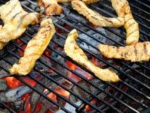 Vlees van pluimveeplakken Turkije op de houtskool om grill Close-up royalty-vrije stock foto