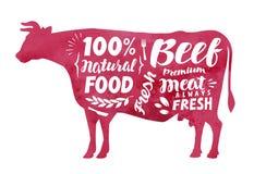 Vlees, vers rundvlees, vectoretiket Silhouetkoe met het van letters voorzien vector illustratie