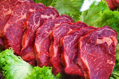Vlees in vetrine Stock Afbeelding