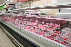 Vlees in winkel Royalty-vrije Stock Foto's
