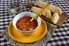 Vleesballetje heerlijke soep, gezond voedsel stock foto's