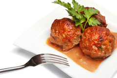 Vleesballetje met peterselie Stock Afbeelding