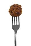 Vleesballetje op vork Stock Foto's