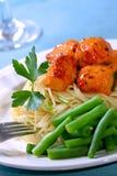 Vleesballetje over Spaghetti stock foto