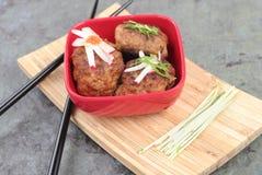 Vleesballetjes Aziatische Stijl Stock Afbeeldingen
