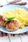 Vleesballetjes en fijngestampte aardappels Royalty-vrije Stock Fotografie