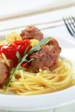 Vleesballetjes en spaghetti royalty-vrije stock fotografie