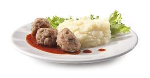 Vleesballetjes met fijngestampte aardappels Royalty-vrije Stock Afbeelding