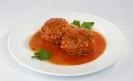 Vleesballetjes met paddestoelen. Stock Fotografie