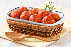 Vleesballetjes met tomatensaus Royalty-vrije Stock Foto