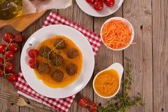 Vleesballetjes met wortelsoep stock foto