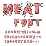 Vleesdoopvont Lapje vlees op beenalfabet Varkensvleesalfabet Rundvleesbrieven stock illustratie