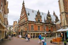 Vleeshal in Haarlem, mening van Lepelstraat En gemaakt tot deze kleine stad voel grote groter Stock Foto's