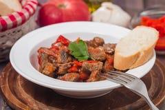 Vleeshutspot met groenten royalty-vrije stock foto
